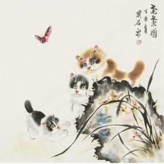 【已售】餐厅挂画 客厅装饰画 璞石斗方动物画 猫《耄耋图》