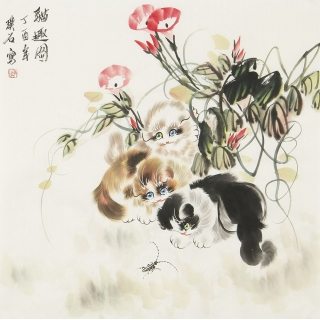 【已售】卧室挂画 餐厅装饰画 璞石斗方动物画 猫《猫趣图》