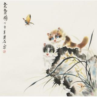 【已售】写意国画猫 璞石斗方动物画《耄耋图》