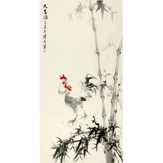 著名画家璞石四尺竖幅雄鸡《大吉图》