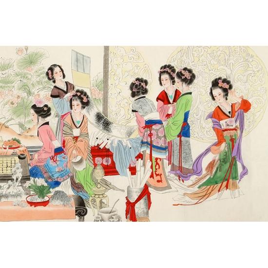 张清栋六尺横幅人物画《红楼梦》金陵十二钗