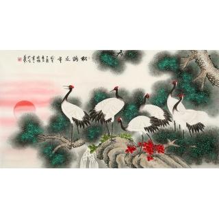长寿松鹤图 张清栋工笔花鸟画《松鹤延年》