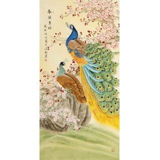 【已售】张清栋四尺竖幅孔雀牡丹图新作《春韵吉祥》