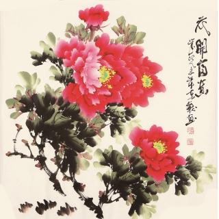 国画写意牡丹图 李东献斗方花鸟画《花开富贵》