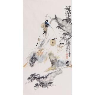 李东献三尺竖幅人物画《诗音图》