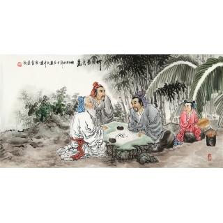 河南美协 刘中芬四尺人物画作品《竹林对弈图》