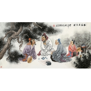 河南美协 刘中芬四尺人物画作品《松阴品茗图》