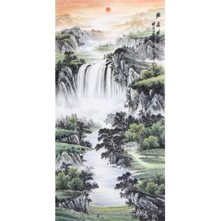 聚宝盆风水画 刘中芬最新四尺竖幅《源远流长》