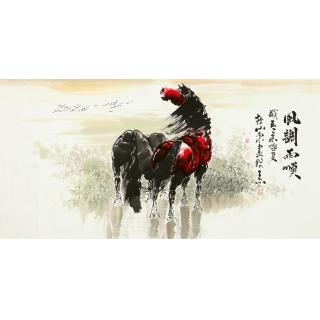 山东美协王杰四尺骏马图《风调雨顺》