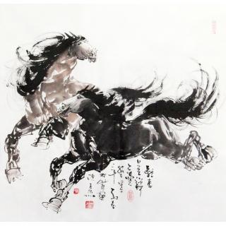 【已售】山东美协王杰四尺斗方国画《双马呈祥》