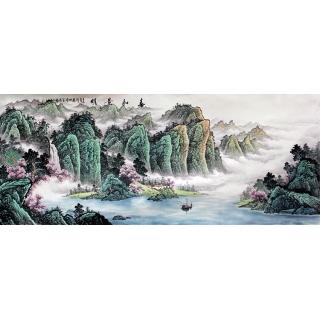 国家一级美术师陈厚刚八尺山水装饰画《春和景明》