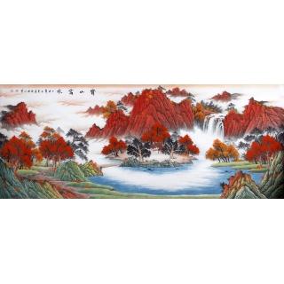 客厅风水画 陈厚刚聚宝盆山水画作品《宝山富水》