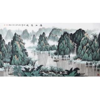 【已售】陈厚刚六尺漓江山水装饰画《漓江賸境》