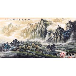 实力派画家陈厚刚六尺山水画《山水清音》