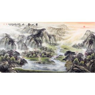 客厅青绿聚宝盆山水画 陈厚刚新品国画《宝山富水》