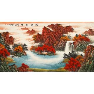 聚宝盆山水画 陈厚刚六尺山水画作品《鸿运当头》