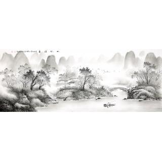 【已售】国家一级美术师陈厚刚六尺山水画《山水清音》