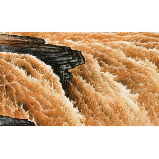 黄河题材山水画 陈厚刚写意国画作品《黄河之水天上来》