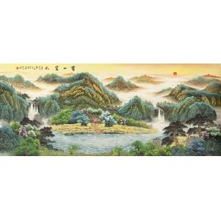 【已售】客厅风水挂画必选 赵君辉八尺横幅鸿运聚宝盆作品《宝山富水》