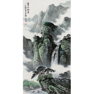 赵君辉四尺竖幅山水画《翠兴幽居》