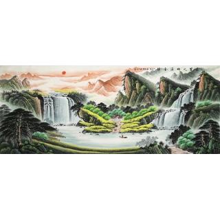 【已售】客厅旺财风水画 赵君辉聚宝盆山水画《聚宝之地溢金辉》