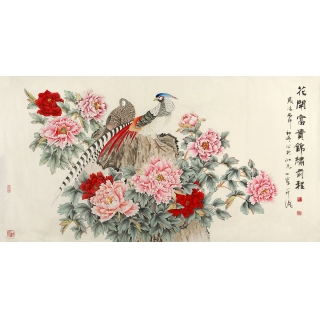 王一容四尺牡丹锦鸡图《花开富贵 锦绣前程》