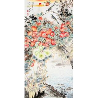 清华美院韦仲传 四尺竖幅花鸟画《鸿运当头》