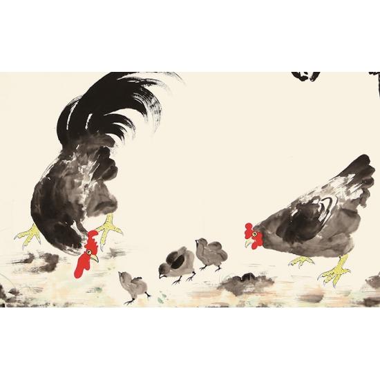 于雪义四尺横幅写意动物画 雄鸡图《吉祥图》