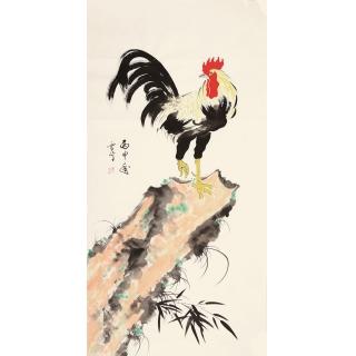 客厅装饰画 玄关挂画 于雪义四尺竖幅写意雄鸡图《穷款》