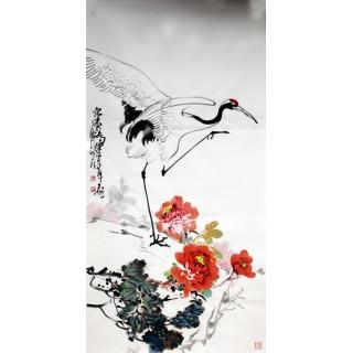 【已售】陈大鹏四尺竖幅花鸟画《富贵鸿运》
