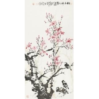 【已售】陈大鹏四尺竖幅花鸟画《清风拂玉蘭》