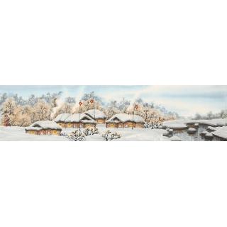 名家字画 冯国钢四尺对开冰雪山水画《瑞雪》
