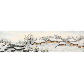 冰雪山水画 冯国钢最新力作四尺对开国画作品《塞外风光》