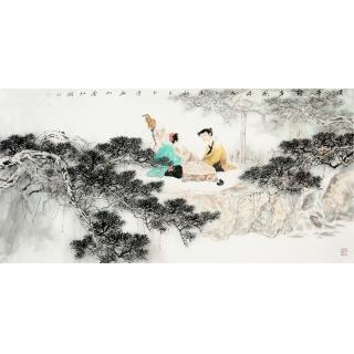【已售】名家书画 何正则四尺横幅人物画《溪亭对弈图》