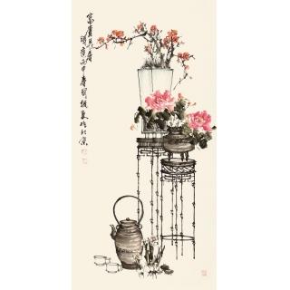 河北美协王国梁四尺竖幅花鸟作品《富贵长春》