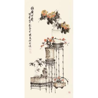 河北美协王国梁四尺竖幅花鸟作品《梅兰竹菊》