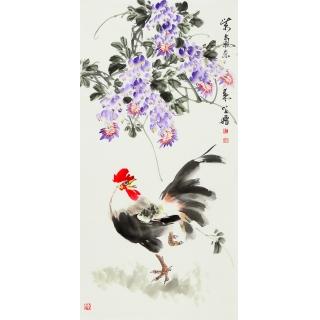 河北美协王学增三尺竖幅花鸟画《紫气东来》