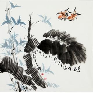 河北美协王学增四尺斗方花鸟画《竹影》