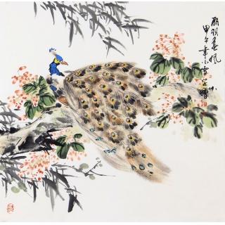 【已售】孔雀图 王学增四尺斗方写意花鸟画《丽羽春风》