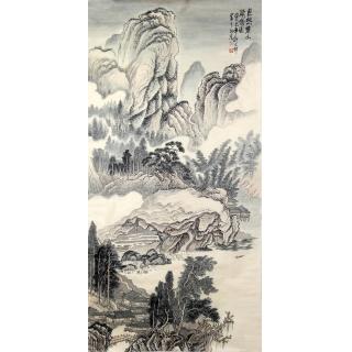【已售】许文邠四尺竖幅山水画《巨然楚山》