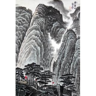 著名画家许文邠四尺三开山水画《井冈山》