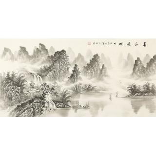 【已售】实力派画家刘大海四尺横幅水墨山水画作品《春和景明》