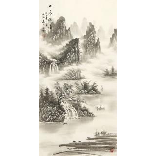 【已售】水墨山水画 刘大海四尺竖幅国画作品《山水清韵》