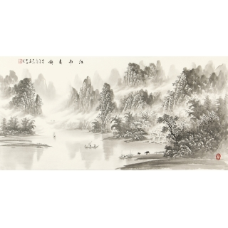 装饰字画 刘大海四尺横幅水墨山水画作品《江南春韵》