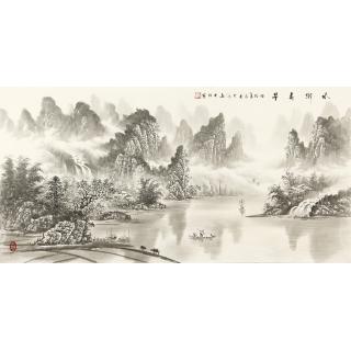 装饰字画 刘大海四尺横幅水墨山水画作品《水乡春早》