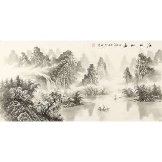 装饰字画 刘大海四尺横幅水墨山水画作品《江山如画》