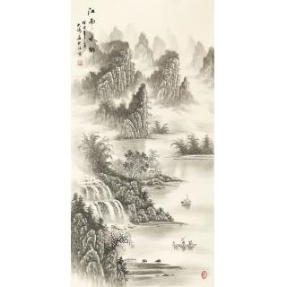 室内装饰画 刘大海四尺竖幅水墨山水画作品《江南水乡》