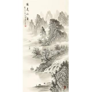 玄关装饰画 刘大海四尺竖幅国画山水画作品《源远流长》