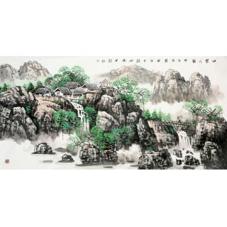河北省美协 王万泉四尺山水画《山里人家》