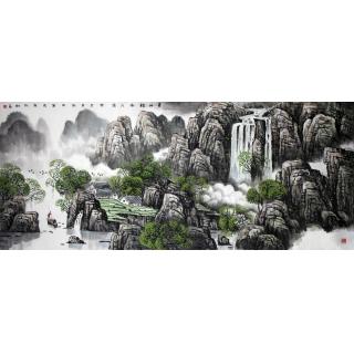 著名画家王万泉六尺横幅山水画《青山绿水人家》